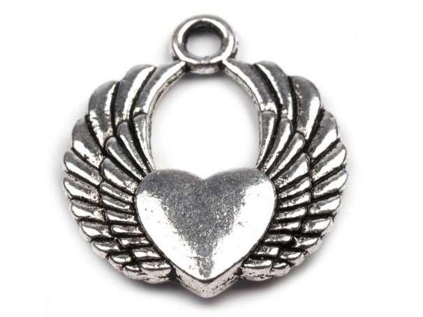 Anhänger - Herz mit Flügeln - platin