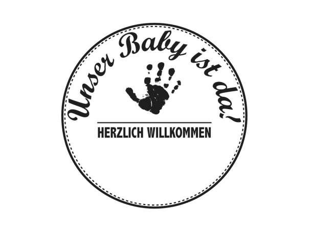 """Holzstempel """"Unser Baby ist da"""""""