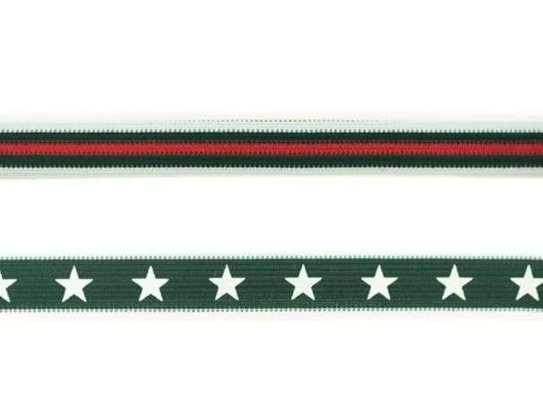 Einfassband - Streifen & Sterne - dunkelgrün/weiß/rot