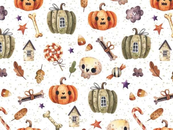 French Terry - Halloween - Kürbis & Totenkopf