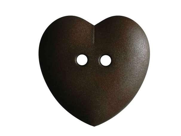 Knopf Herz 23mm - dunkelbraun