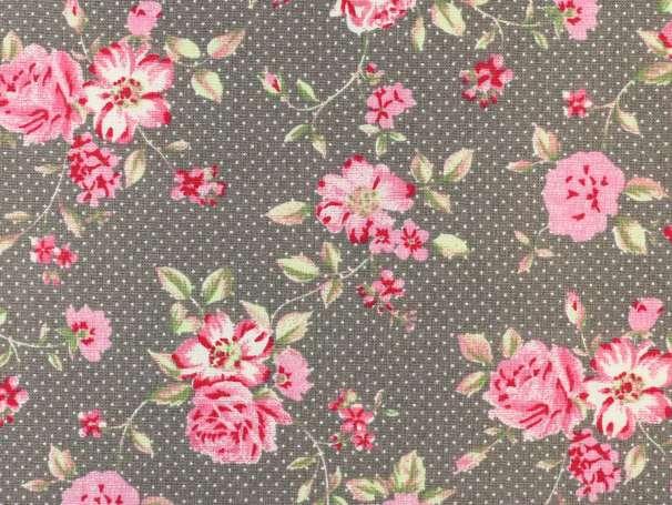 Westfalenstoffe taupe - Rosenborg - Blumen