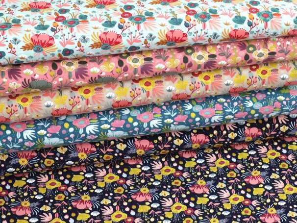 Jersey Stoff - Flower Bouquet - verschiedene Farben
