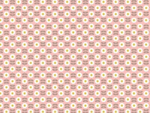 Baumwolle Stoff rosa - Retro Daisy