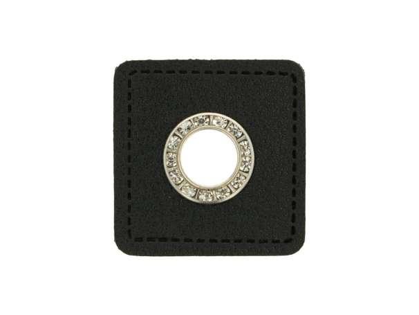 1 Kunstleder-Quadrat mit Glitzer-Öse - 9 mm - schwarz/silber