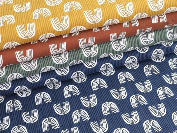 Jersey Stoff - Streifen Regenbogen, verschiedene Farben