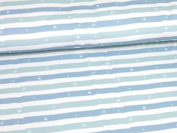French Terry - Winterspaß Streifen - mint/blau