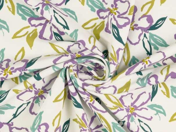 Jersey Stoff - Blumen, weiß