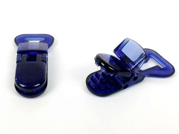 Schnullerclip dunkelblau - transparent