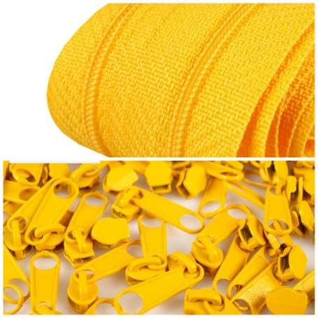 2m Endlos-Reißverschluss + 5 Zipper gelb