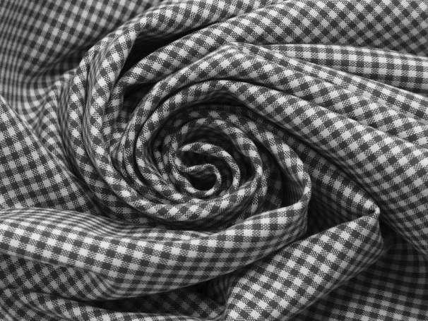 Baumwolle Stoff dunkelgrau/weiß - Klein Kariert