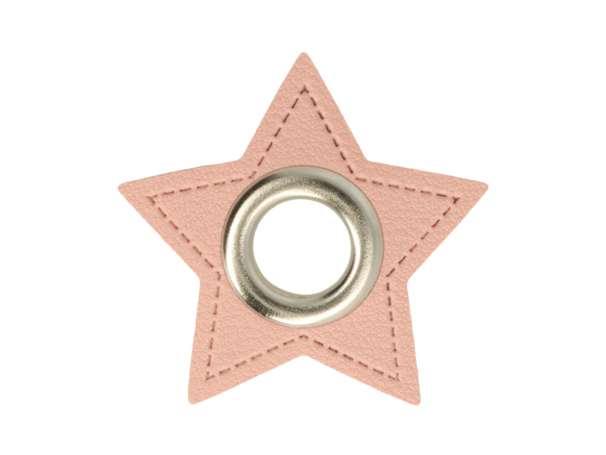 1 Kunstleder-Stern mit Öse - 11 mm - rosa/silber