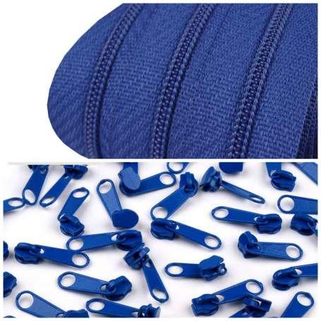 2m Endlos-Reißverschluss + 5 Zipper royalblau