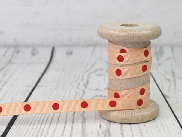 Ripsband - Punkte - pfirsich-rot