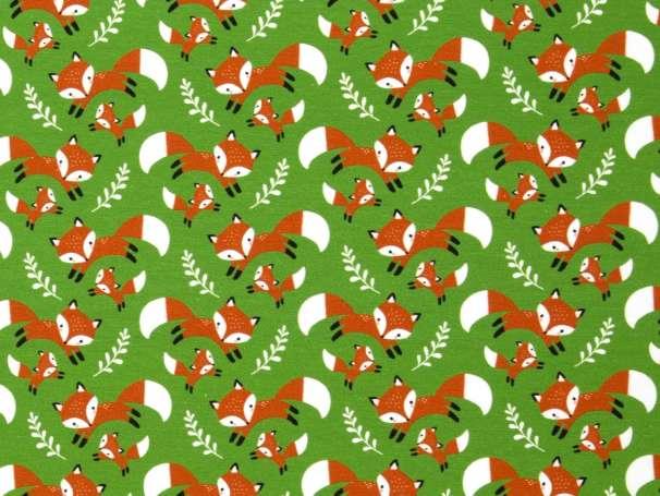 Jersey Stoff - Füchse auf grün
