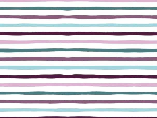 Jersey Stoff - Doodle Stripes - aubergine-mint