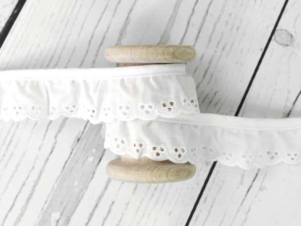 Baumwollspitze Stickerei, gerüscht - 30 mm - weiß