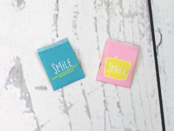 Webetikett Label - Sonne SMILE, verschiedene Farben