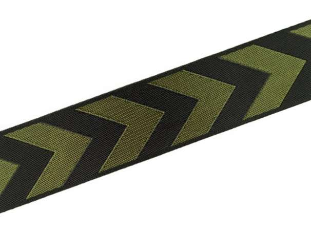 Zierband beidseitig 38 mm - Pfeile - schwarz/oliv