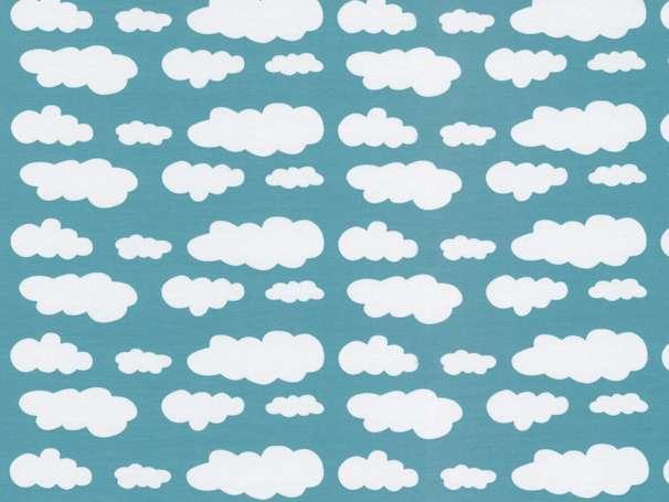 Jersey Stoff - Wolken - dunkles mint