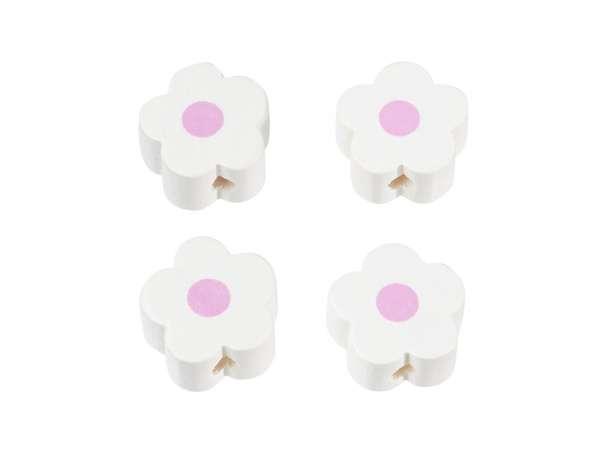 Schnulli-Blümchen-Perlen - 4 Stück - weiß