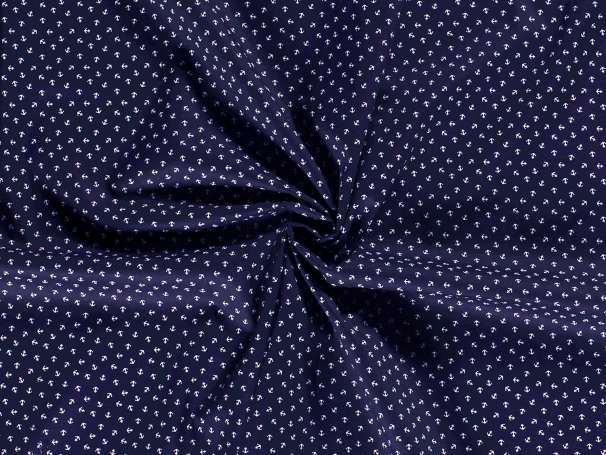 BAUMWOLLE Stoff - Tiny Anchor, dunkelblau