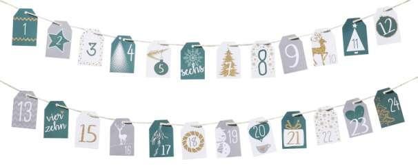Geschenk-Anhänger, Adventszahlen 1-24
