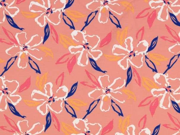 Jersey Stoff - Blumen, apricot