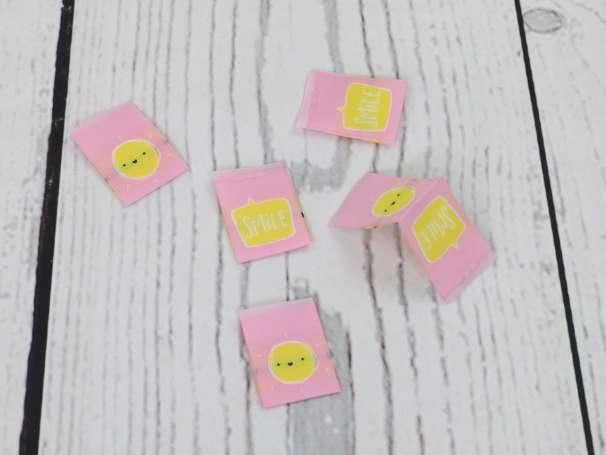 Webetikett Label - Sonne SMILE, rosa