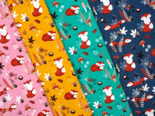Jersey Stoff - My Little Foxy - Füchse, verschiedene Farben