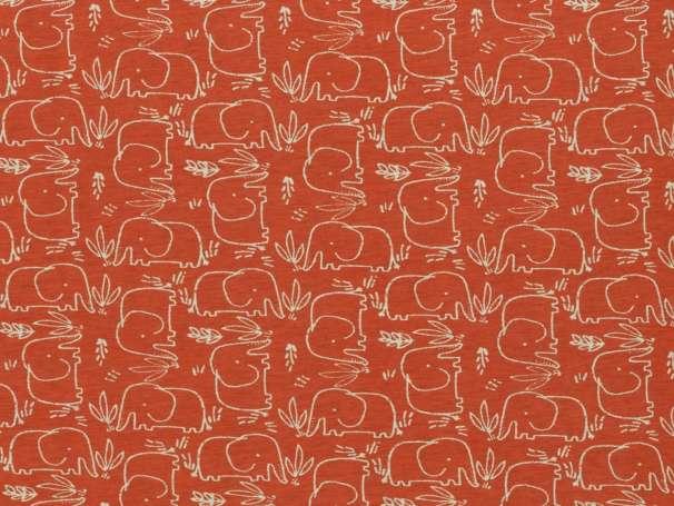 Jersey Stoff Benno - Elefant - orangerot