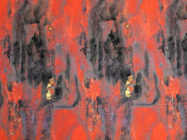Jersey Stoff - Abstrakt - rot-anthrazit