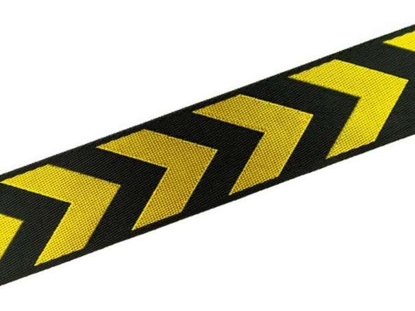 Zierband beidseitig 38 mm - Pfeile - schwarz/gelb
