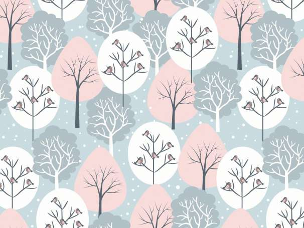 French Terry - Winterwald - blau/rosa