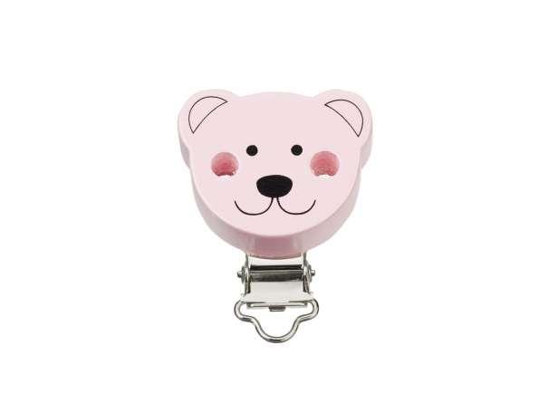 Schnulli-Ketten Clip - Bär - rose