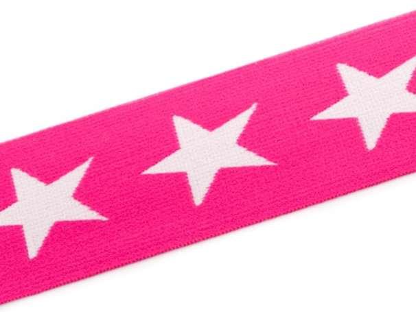 Gummiband STERN, beidseitig - 40 mm - pink,weiß