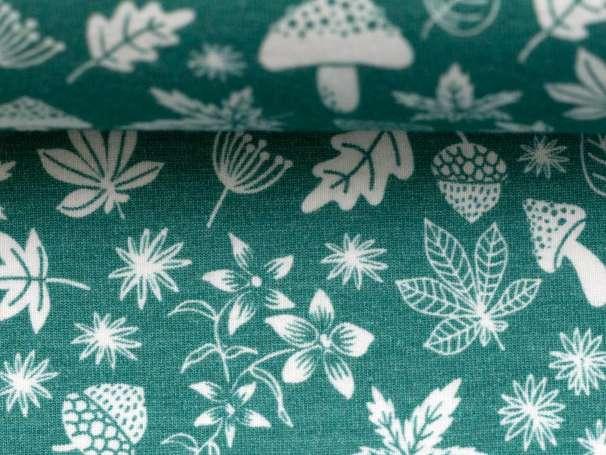 Jersey Stoff - My Little Foxy - Blätter, smaragd