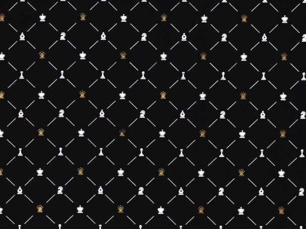 BAUMWOLLE Stoff - Schach, schwarz
