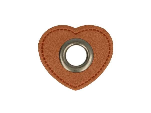 1 Kunstleder-Herz mit Öse - 8 mm - braun/anthrazit