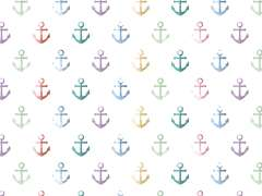 Jersey Stoff - Watercolor Anchor - bunt