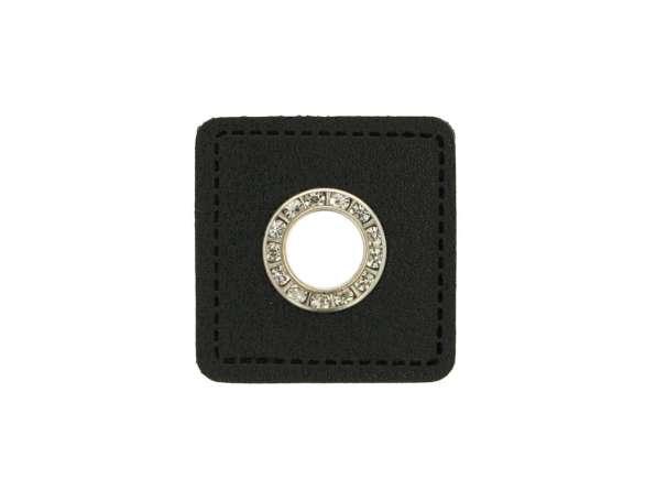 1 Kunstleder-Quadrat mit Glitzer-Öse - 6 mm - schwarz/silber