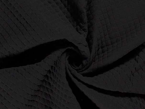 Musselin Steppstoff - Kleine Rauten - schwarz