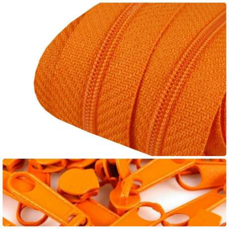 2m Endlos-Reißverschluss + 5 Zipper orange
