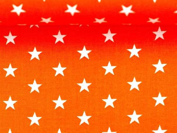BAUMWOLLE Stoff - Sterne - orange,weiß