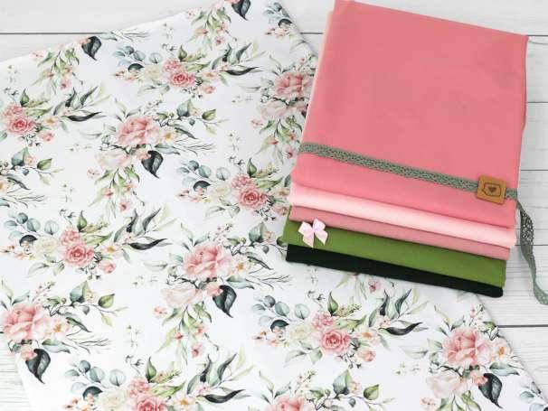 Jersey Stoff - Aquarell Eukalyptus & Blumen Kombistoffe