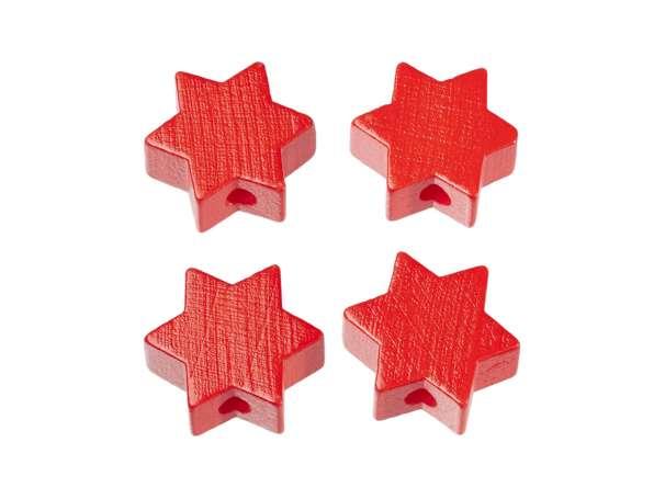 Schnulli-Stern-Perlen - 4 Stück - rot