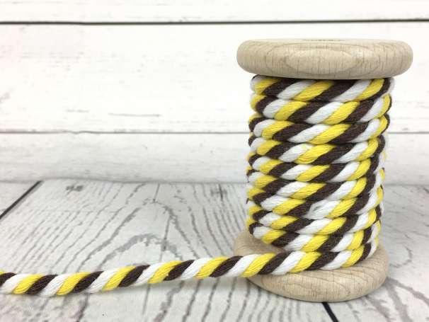 Kordel gedreht - weiß braun gelb