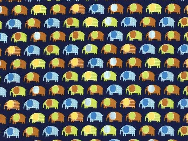 Baumwolle Stoff dunkelblau - Mini Elephants
