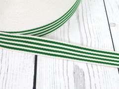 Gurtband - 35 mm - Streifen, creme-grün