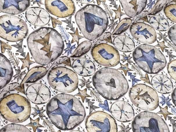 French Terry - Holzscheiben - grau/blau